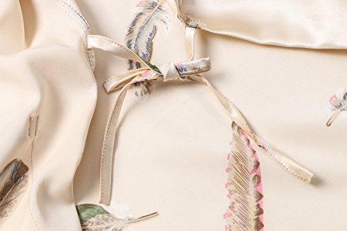 DandyChic Women's Kimono Robes Feather Print Kimono Imitation Silk Long Style by DandyChic (Image #3)
