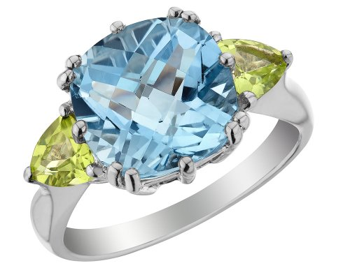 Blue Topaz and Peridot Ring 3.90 Carats (ctw) in Sterling Silver ()