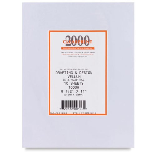 Clearprint 1000H Design Vellum Sheets, 16 lb., 100% Cotton, 24 x 36 Inches, 10 Sheets Per Pack, Translucent White, 1 Each (Clearprint 1000h Drafting Vellum)