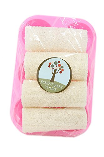 Loofah and Soap Mold Kit - Exfoliating Natural Loofah Sponges with Silicone Round Soap Making Tray - Face, Body, and Back Exfoliating Loofahs| 4 Luffa Pack with 6 Section Soap Mold Tray Included ()