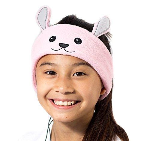 CozyPhones Kids Headphones Volume Limited with Ultra-Thin Speakers & Super Comfortable Soft Fleece Headband - Perfect Children's Earphones for Home and Travel - BUNNY