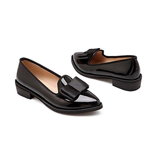 Amoonyfashion Womens Pull-on Lage Hakken Pu Stevige Puntige Dichte Teen Pumps-schoenen Zwart