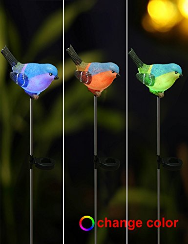 Bright Zeal Set Of 2 Led Color Changing Bird Solar Garden Stake Lights 29 5 Tall 3 5 X 2 7