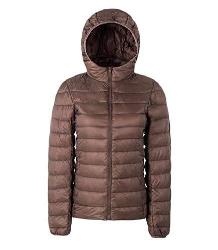 Hooded Jacket Women Light Khaki Short Down Warm Fitness RkBaoye Solid Weight 0Rn7aSRq