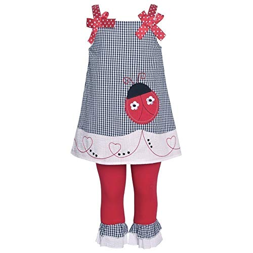 Rare Editions Ladybug Seersucker Capri Set (12m-6x) (6) Navy Red