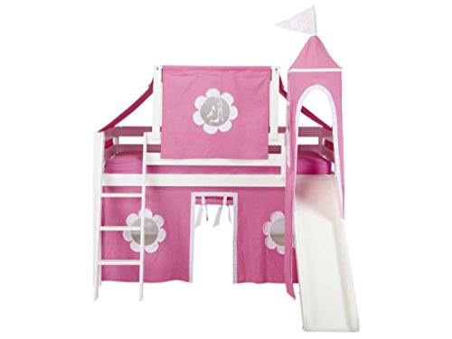 Jackpot Loft Princess Bed with Curtain, Top Tent, Tower and Slide -...