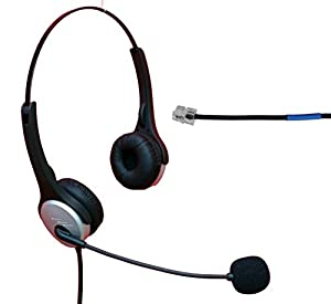 Voistek Corded Binaural Call Center Telephone RJ Headset Noise Cancelling Headphone with Microphone for Cisco 7960 7970 7975 Office IP phones and M10, M12, M22 & MX10 Amplifiers