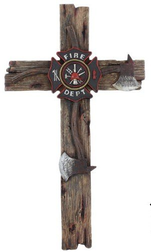 (Firefighter Theme Decorative Wall Cross with Crossed Fire Axes and Maltese Cross (20