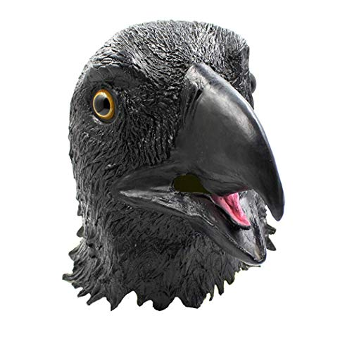 Halloween Masquerade Carnival Costume Party Black Hawk in The Sky Latex Animal Mask Full Head for Adults -