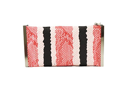 Hearty Trendy Python Print Stripes Metal Frame Clutch Bag -PINK