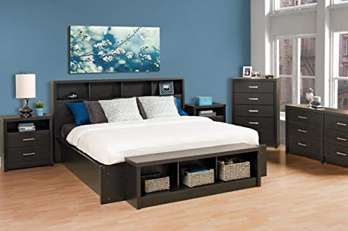 Prepac District Tall 2 Drawer Nightstand Washed Black