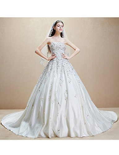 Schleppe Strassstein Brautkleid Handarbeit Bandeaukleid Lactraum HS1060 Hochzeitskleid XxgZwqwI6