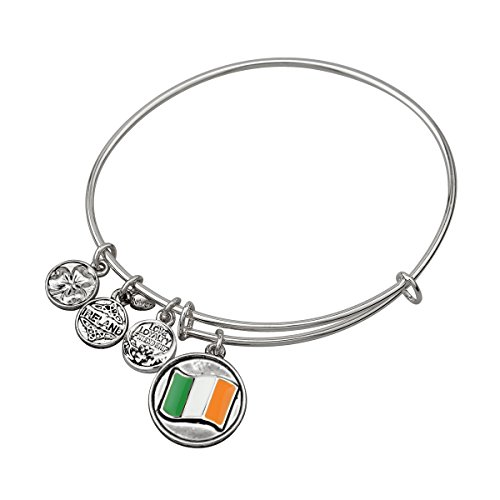 Rhodium Plated Charm Bangle with Large Coloured Tri Colour Flag Charm