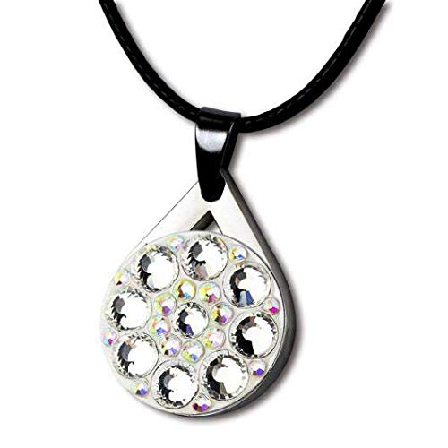 GOLTERS Crystal Golf Balll Markers with Magnetic Golf Necklace for Lady Golfer (White) (Marker Necklace Ball)