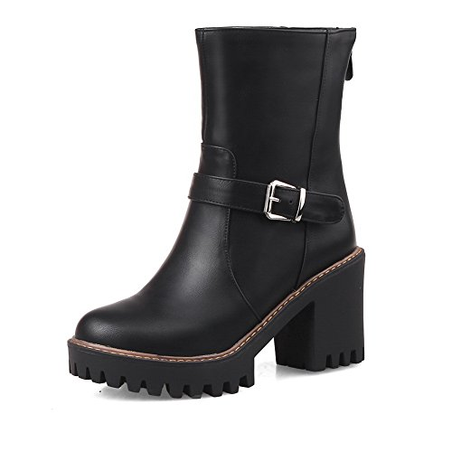 A&N Womens Buckle Solid Casual Black Imitated Leather Boots - 5.5 B(M) - Chemist Online Boots Sale