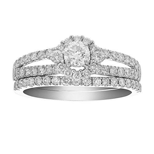 1 CT Diamond Halo Wedding Engagement Ring Set 14K White Gold in Size 7