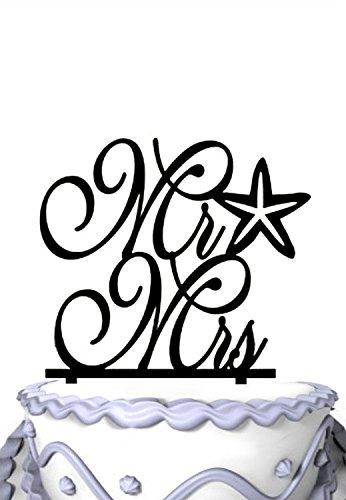 Meijiafei Cursive Mr and Mrs Starfish Beach Nautical Wedding Cake Topper ()