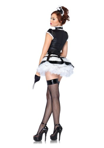 Leg Avenue Costumes 3Pc.Mistress Maid Apron Dress with Cage Skirt Choker Headband, Black/White, Small/Medium -