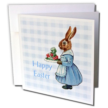 3dRose Image Of Happy Easter with Vintage Bunny On Blue Plaid - Greeting Cards, 6