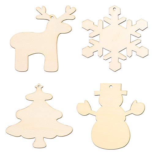 Tinksky 16pcs Christmas Tree Snowman Snowflake Reindeer Ornaments Blank Wood Gift Tags Crafts Wood Slices with Holes -