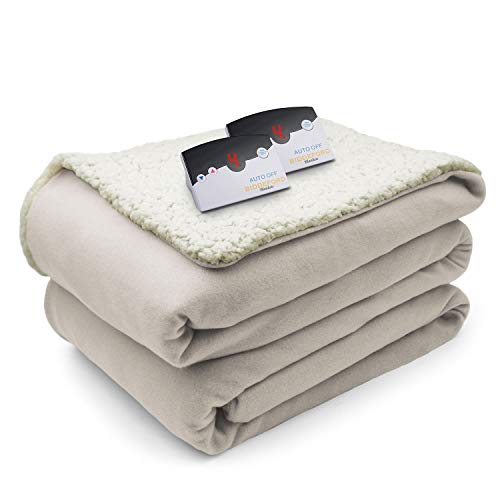 Biddeford Comfort Knit Fleece Sherpa Electric Heated Blanket Queen Natural