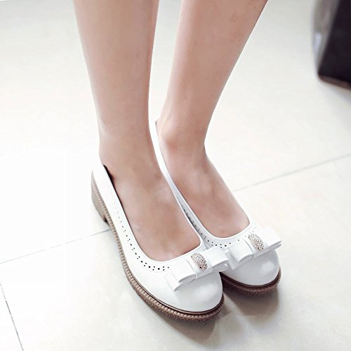 Latasa Womens Cute Bow Mid Heel Slip On Casual Pumps Shoes Bianco