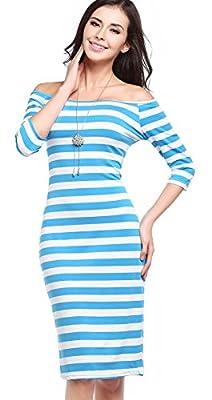 Spanierf Women's Trendy and Elegant Office Dress, Black Stripe