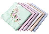 "Ladies Soft Embroidered Rose Handkerchiefs-60s"" Cotton Square 43cm"