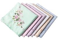 "Ladies Soft Embroidered Rose Handkerchiefs-60s"" Cotton Square 43cm"