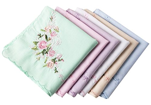 La Closure Vintage Floral Cotton Embroidered Ladies Handkerchiefs Pack -
