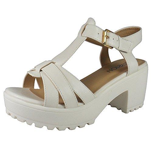 Loudlook Neuen Frauen-Damen-T-Bar-Plattform Schnalle Profilierte Sohle Mid Ferse Schuhe Sandalen Gr??e 3-8 White