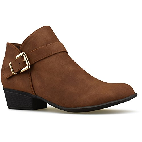 Premier Standard Women's Strappy Buckle Closed Toe Bootie - Low Heel Casual Comfortable Walking Boot Premium Tan*