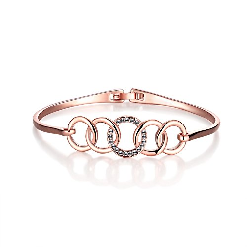 Gorgeous Jewelry 18K Rose Gold Plated Graceful Diamond Accented Bangle Bracelet