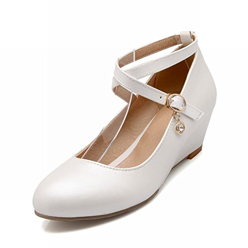Carolbar Women's Sweet Cute Mid Heel Wedge Buckle Court Shoes White IPTPiTzxVU