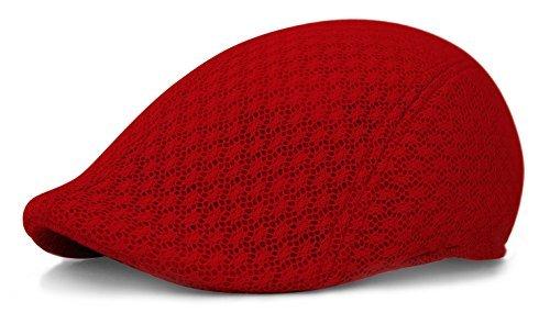 Duckbill Mesh Summer Mens Gatsby Polyester Ivy Golf Driving Hat Sun Newsboy Cap (S/M, Red) -