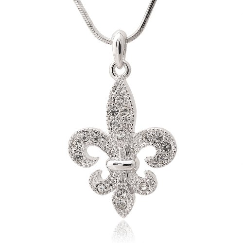 SpinningDaisy Silver Plated Crystal Boy Scout Symbol Necklace - Style Pave Tiffany