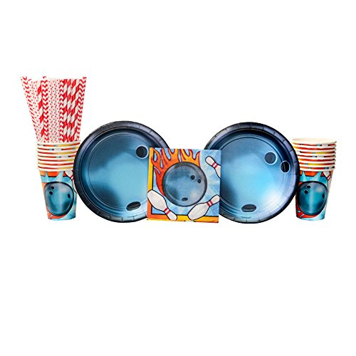 Bowling Birthday Party Supply Pack for 16 Guests: Straws, Dessert Plates, Beverage Napkins, and Cups -