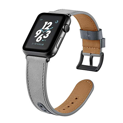 (Compatible with 44mm 42mm Apple Wacth Leather Band, Suede Gray Genuine Leather Strap Loop for Apple iWatch Series 1 2 3 4 Edition Nike+ Smooth Soft Cuff Bracelet Wrist Band)