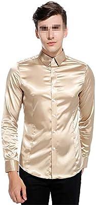 Camisa de los hombres Hombres Satinado Brillante Color Puro Slim Fit Cuello de Solapa Botón de manga larga Abajo Camisa de Caballero Para Discoteca Fiesta Banquete Discoteca Camisas casuales: Amazon.es: Hogar