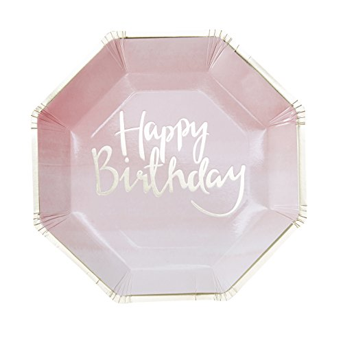 Paper Plates Girls Birthday Party Sweet 16 Baby Shower 1st Birthday Gold Foil 9
