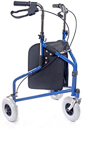 Caremax Mobility Aid 3 Wheeled Walker Blue - Solid, oversized 8'' tires will never puncture and provide more stability for a safe walk on any terrain - storage pouch included by CareMax