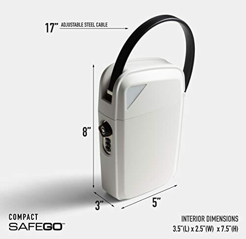 SAFEGO Portable Indoor/Outdoor Lock Box Safe with Key and Combination Access (Compact)