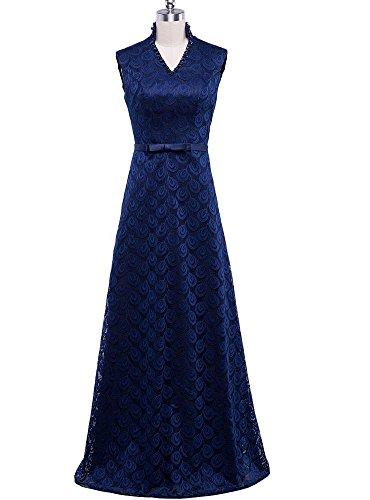 Beauty-Emily Wedding Dresses Royal Blue Lace Flower Floor Length Elegant Flower Dresses Plus size