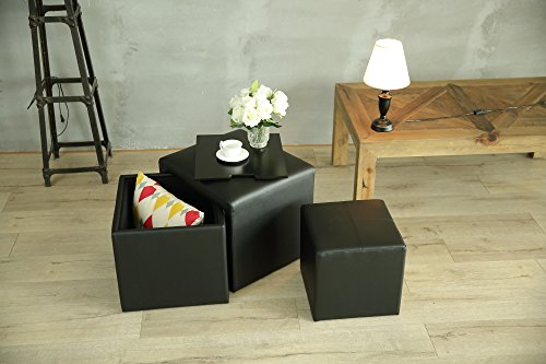 Creative Living SO-FAUXLEATHER Indoor Ottoman Set, 4pc, Black (Affordable Bed Upholstered)