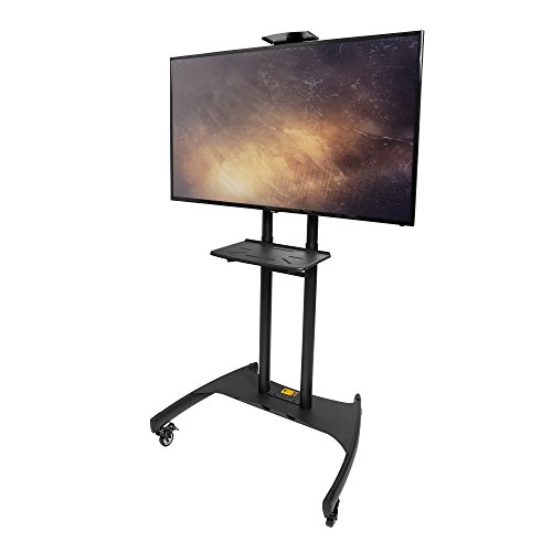 Kanto MTM82PL Mobile TV Stand with Adjustable Shelf and Flat Screen Mount – Fits 50″ to 82″ Monitors – Black