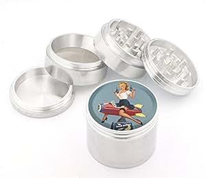 Vintage Pin Up Girl Design Medium Size 4pcs Aluminum Herbal or Tobacco Grinder # G50-92415-27