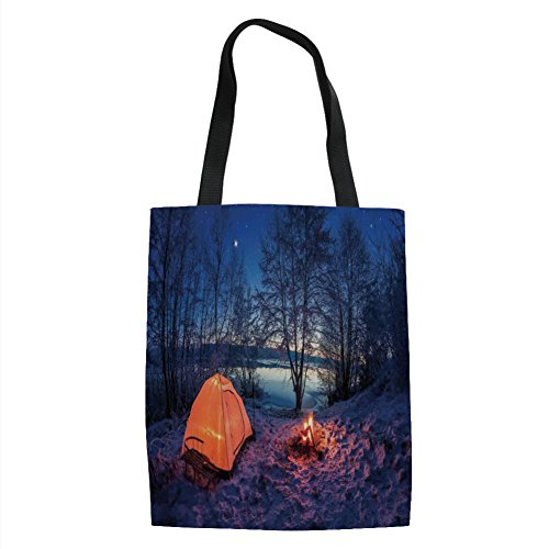 IPrint Apartment Decor,Dark Night Camping Tent Photo in Winter on Snow Covered Lands by the Lake,Blue Orange Printed Women Shoulder Linen Tote Shopping Bag - Tent Fisher Price