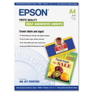 Epson S041106 Self-adhesive Paper - A4 - 8.30 x 11.70 - 167 g/m?? - Matte - 90% Brightness - 1 Each - Bright White