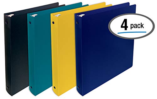 - Better Office Products, 3 Ring Poly Binder with Pocket, 1 Inch, Letter Size, 4 Pack-Assorted Colors