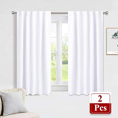 PONY DANCE Window Curtains Drapes - White Panels Short Drapes Back Tab/Rod Pocket Window Treatments Curtain Blinds Home Decoration for Kitchen Bedroom, W 42